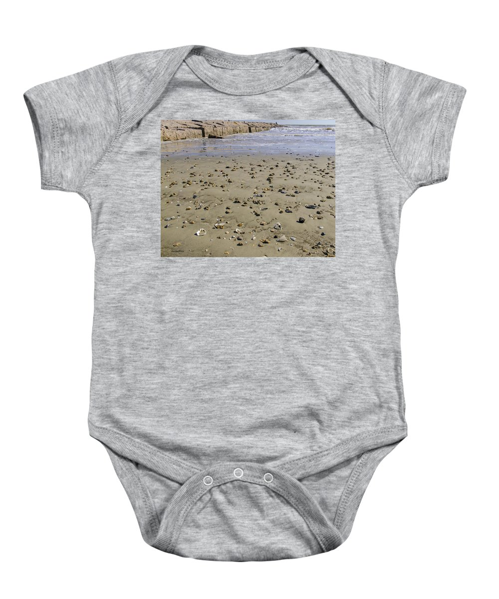 Galveston Baby Onesie featuring the photograph Shells On The Beach by Allen Sheffield