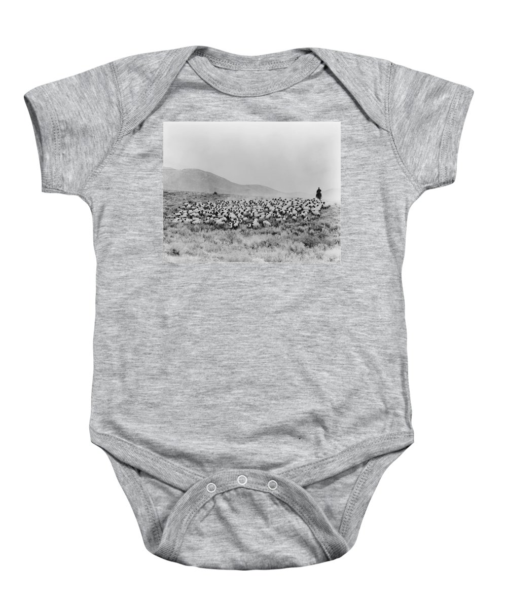 1940 Baby Onesie featuring the photograph Shepherd And Flock, C1942 by Granger
