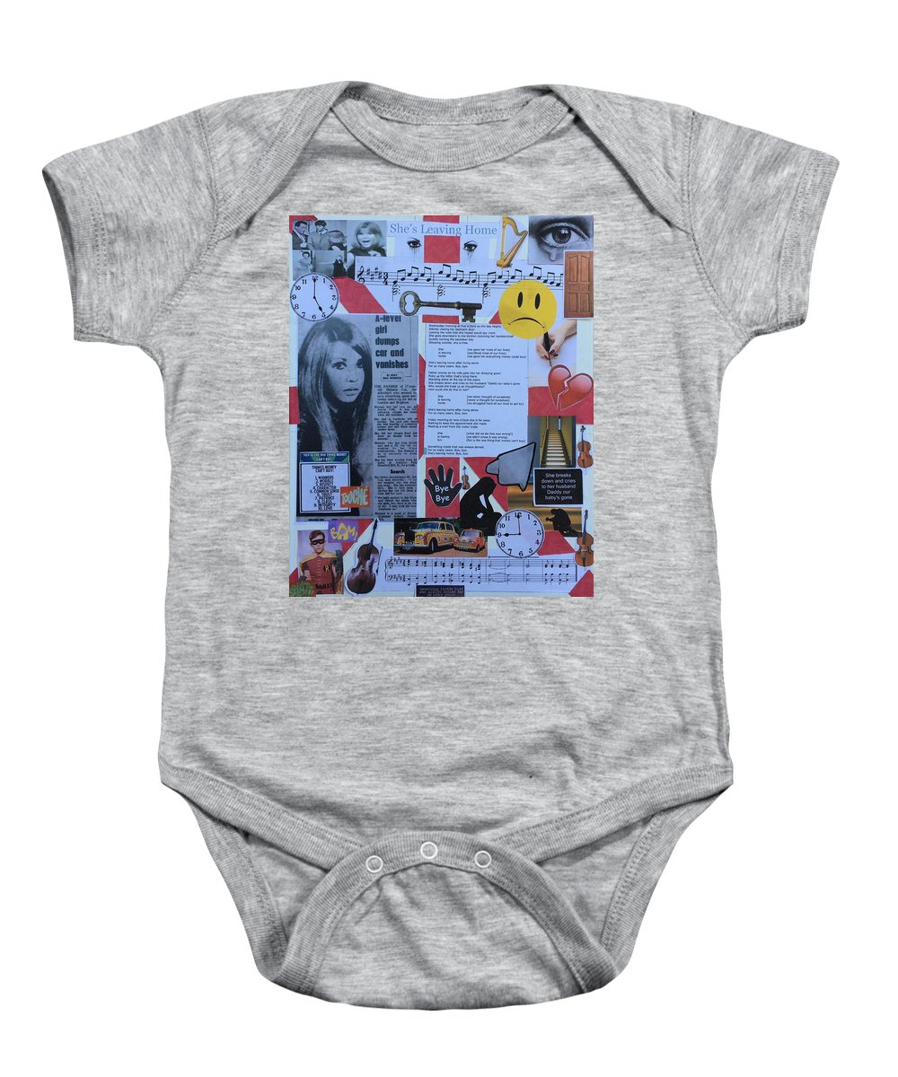 John Lennon Paul Mccartney George Harrison Ringo Starr Sergeant Pepper's Lonely Hearts Club Band The Beatles 1967 Baby Onesie featuring the mixed media She's Leaving Home by Jonathan Morrill