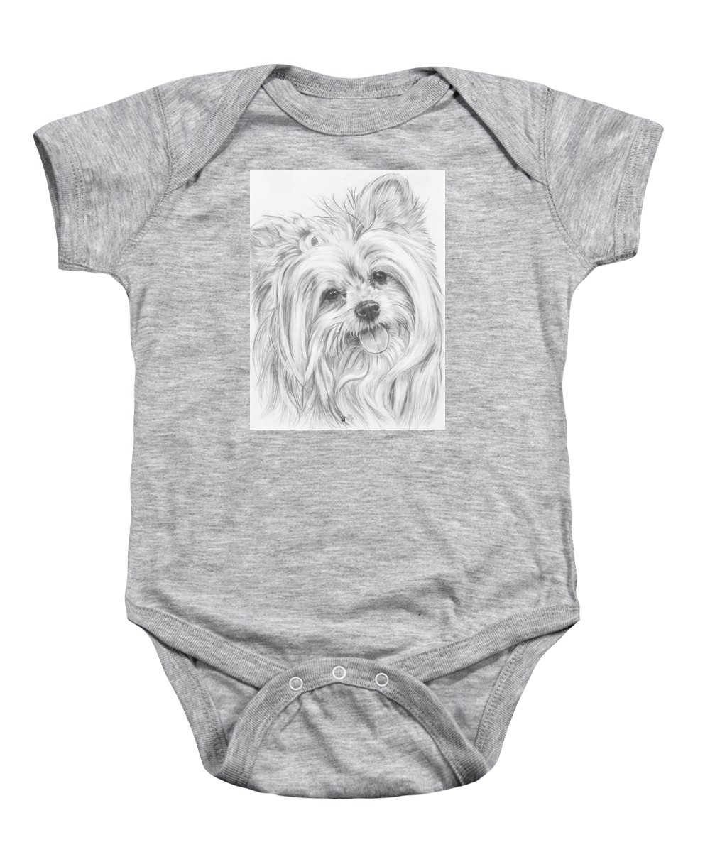 Designer Dog Baby Onesie featuring the drawing Shi-chi by Barbara Keith
