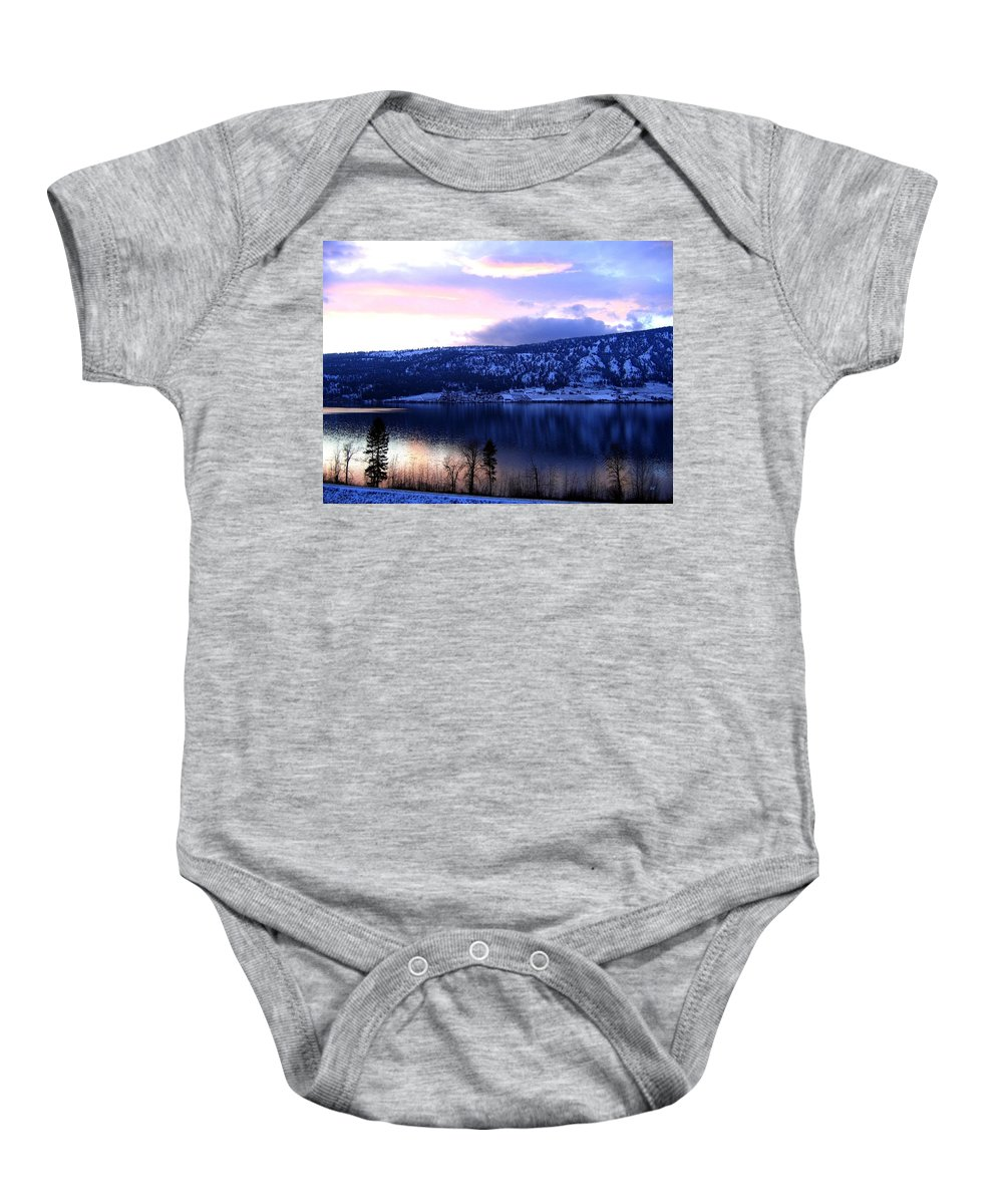 Sunset Baby Onesie featuring the photograph Shimmering Wood Lake by Will Borden