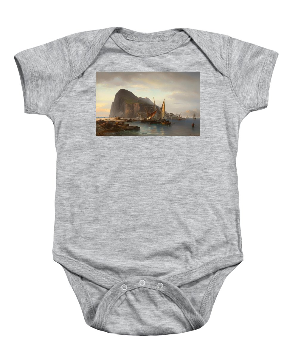 Painting Baby Onesie featuring the painting Shipping Off Gibraltar by Mountain Dreams