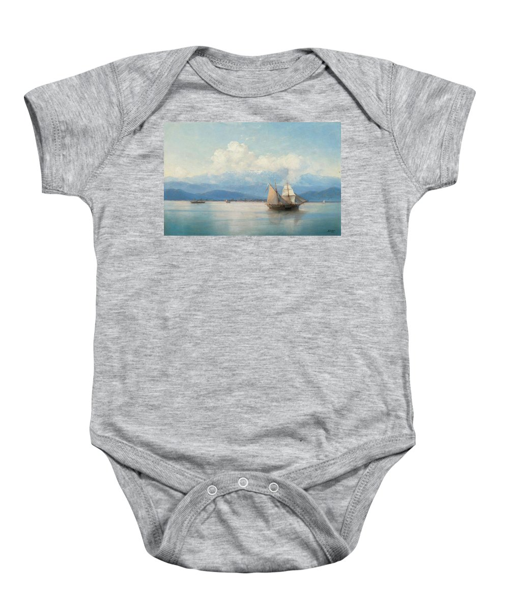 Aivazovsky Baby Onesie featuring the painting Ships by MotionAge Designs