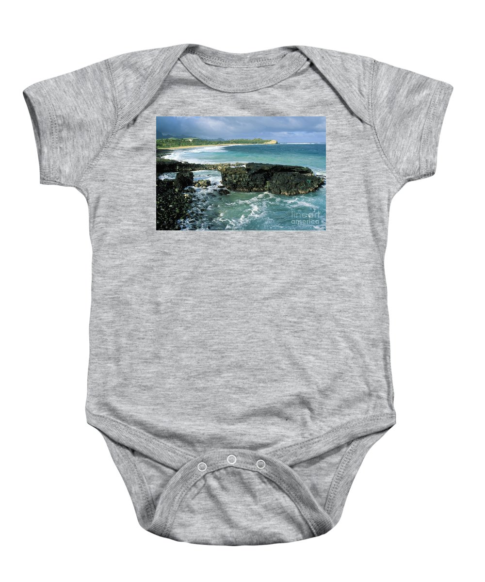 Beach Baby Onesie featuring the photograph Shipwreck Beach by Peter French - Printscapes