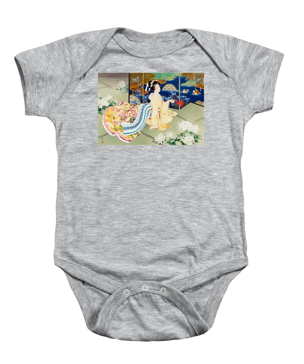 Adult Baby Onesie featuring the photograph Shiragiku by MGL Meiklejohn Graphics Licensing