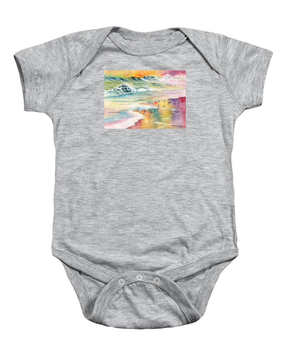 Shoreline Baby Onesie featuring the painting Shoreline Watercolor by Melly Terpening