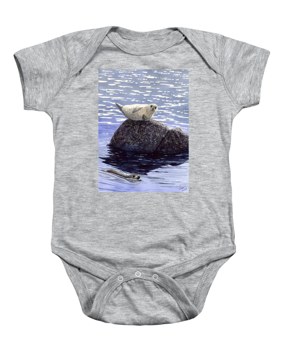Seal Baby Onesie featuring the painting Show Off by Catherine G McElroy