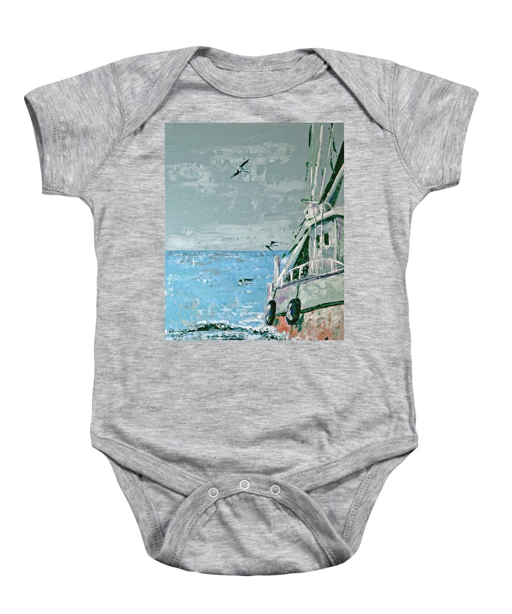 Acrylic Baby Onesie featuring the painting Shrimp Boat In The Gulf by Suzanne McKee