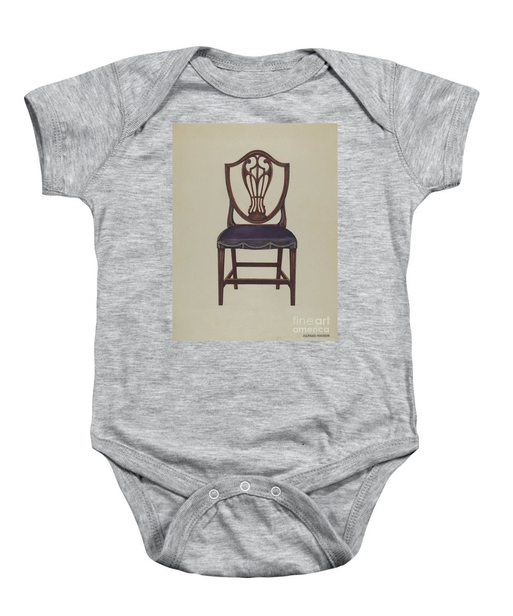 Baby Onesie featuring the drawing Side Chair (one Of Six) by Alfred Nason