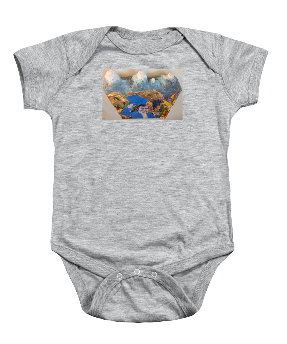 Peak.mountains Volcanism. Huge Ranges. High Elevations Produce Colder Climates Less Hospitable Terrain And Climate Baby Onesie featuring the sculpture Side Show Mountains by William Douglas