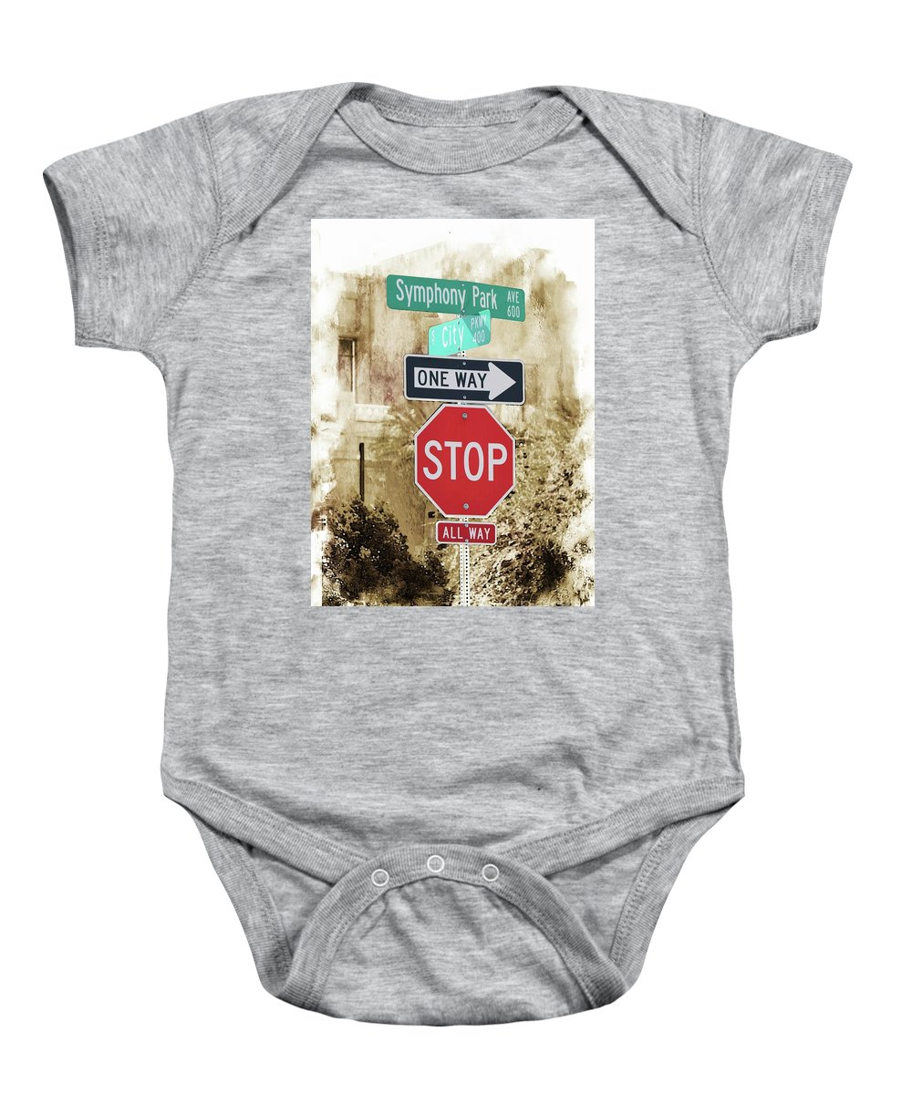 Signs Baby Onesie featuring the digital art Signs by Gina Geldbach-Hall