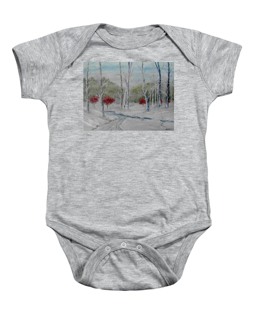 Snow; Winter; Birch Trees Baby Onesie featuring the painting Silence by Ben Kiger