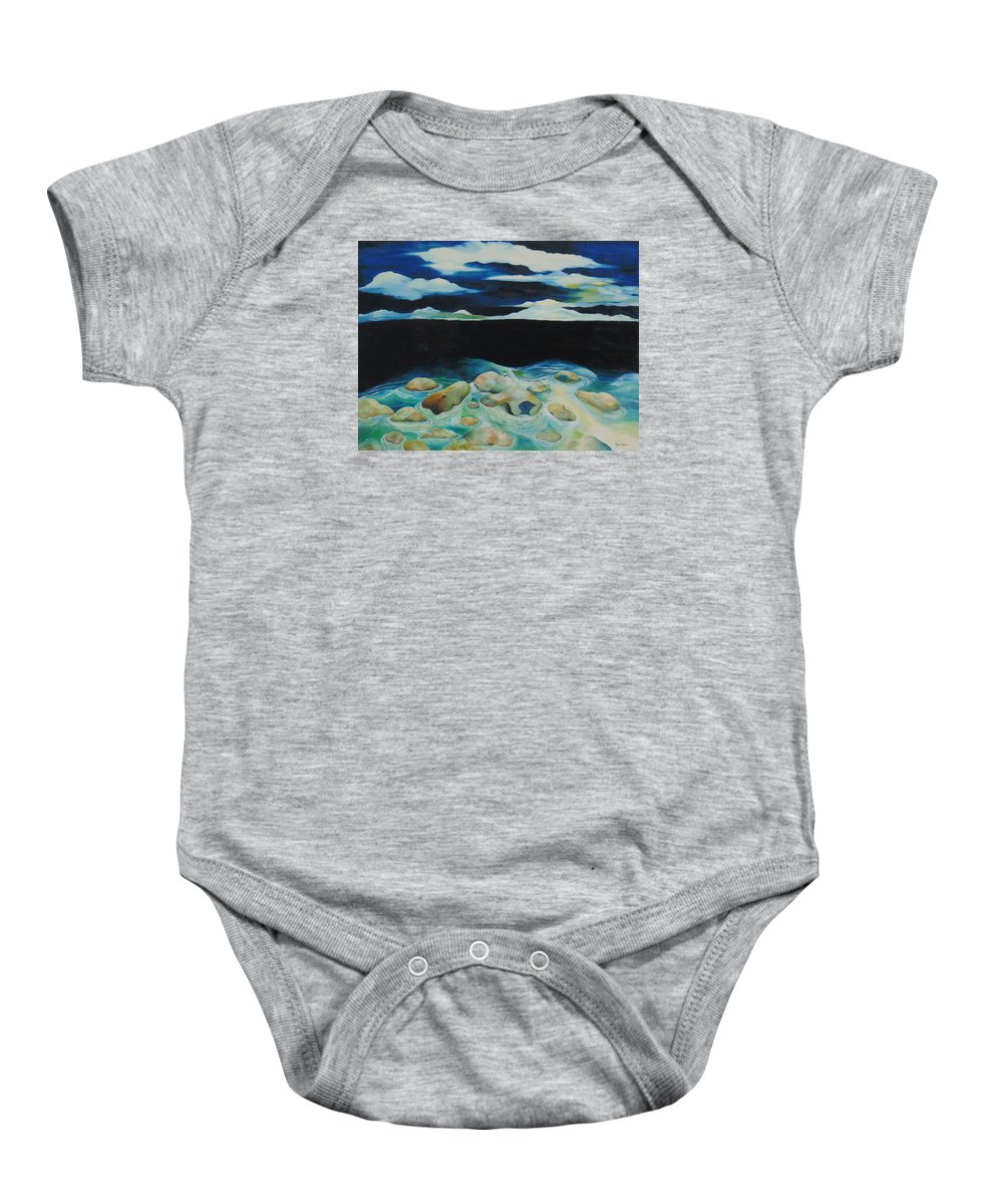 Oil Baby Onesie featuring the painting Silence by Peggy Guichu