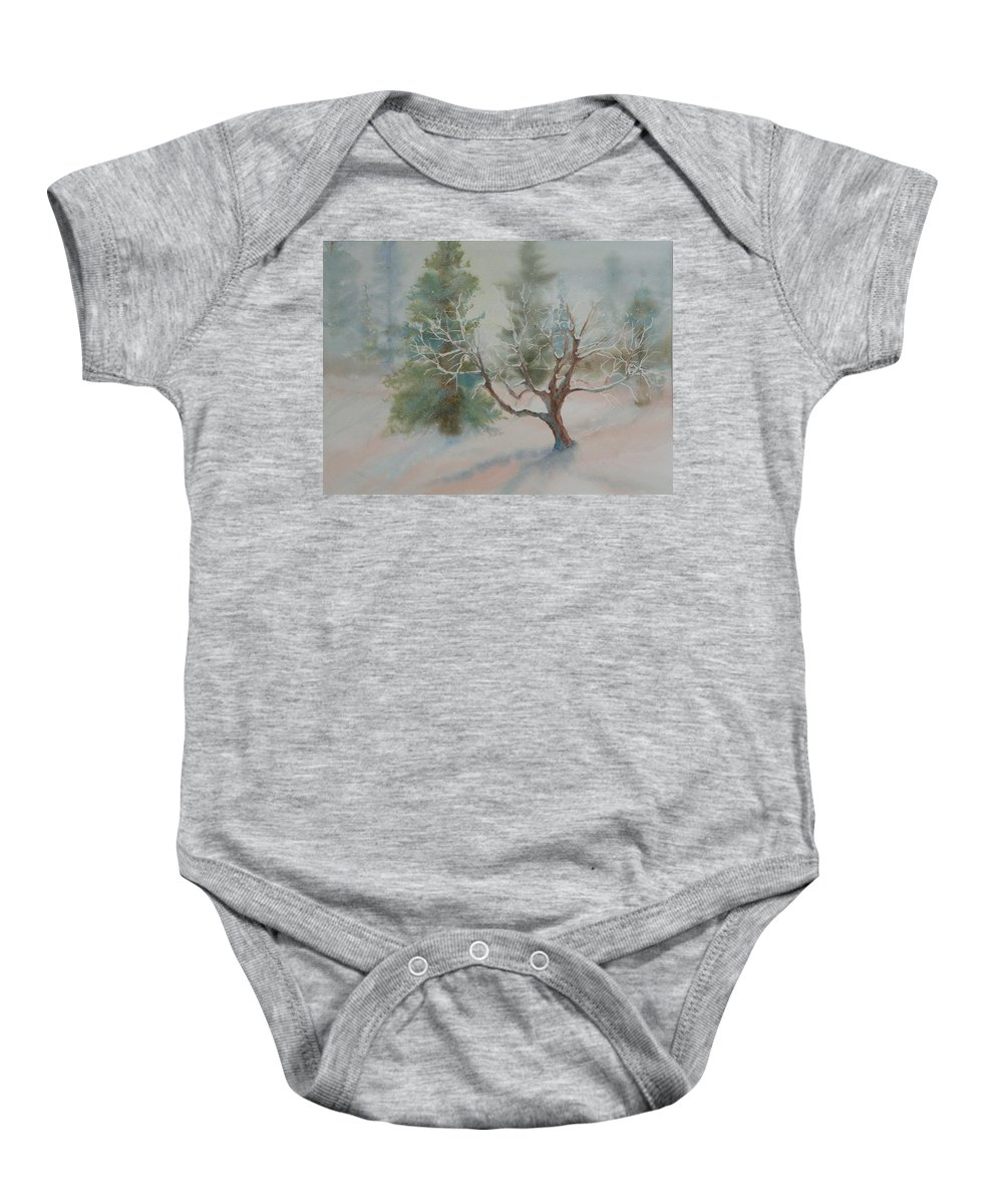 Snow Baby Onesie featuring the painting Silence by Ruth Kamenev