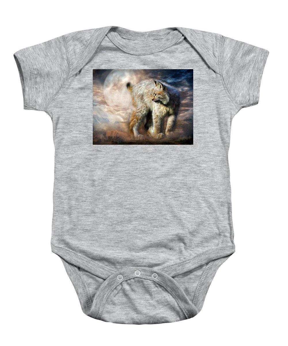 Lynx Baby Onesie featuring the mixed media Silent Spirit by Carol Cavalaris