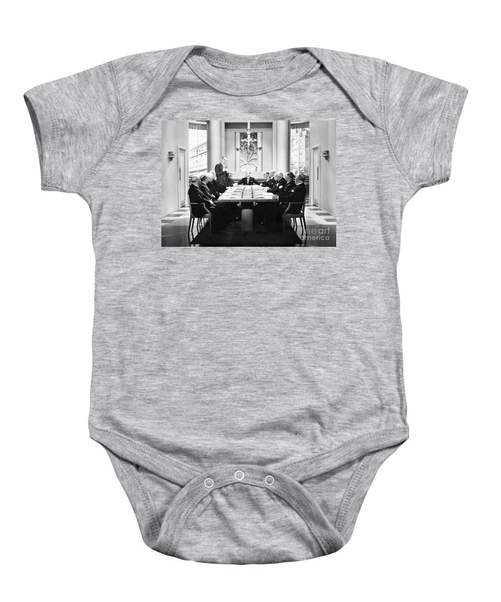 -board Meetings- Baby Onesie featuring the photograph Silent Still: Board Meeting by Granger
