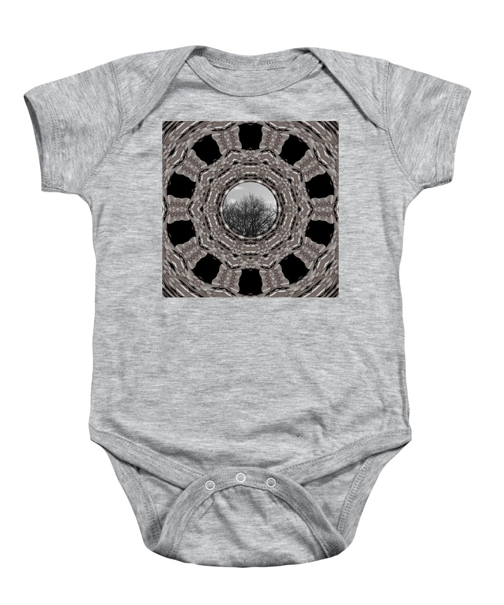 Tree Baby Onesie featuring the mixed media Silver Idyl by Pepita Selles