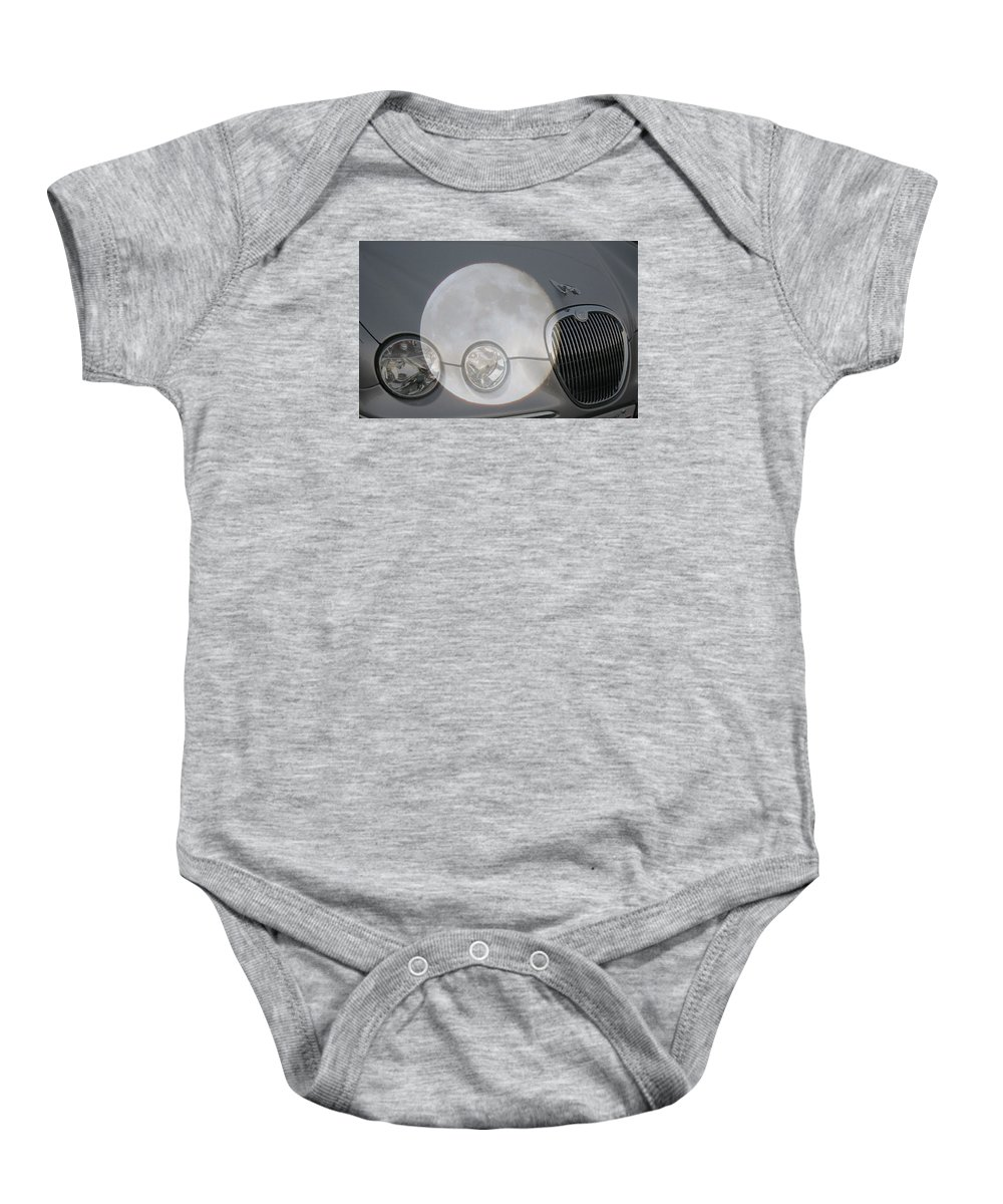 Car Baby Onesie featuring the photograph Silver Moon Jaguar by J R  Seymour