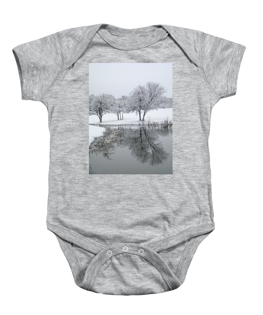 Pond Baby Onesie featuring the photograph Silver Morn by Gale Cochran-Smith