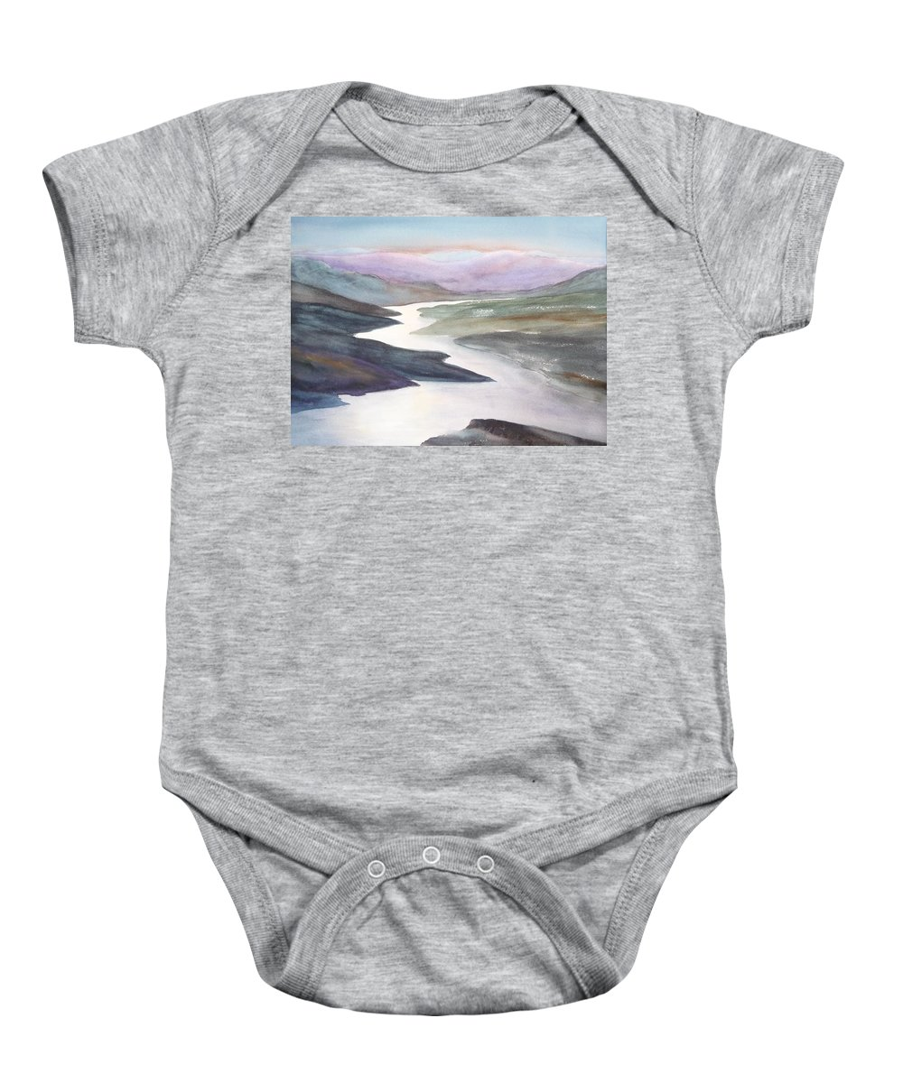 River Baby Onesie featuring the painting Silver Stream by Ruth Kamenev