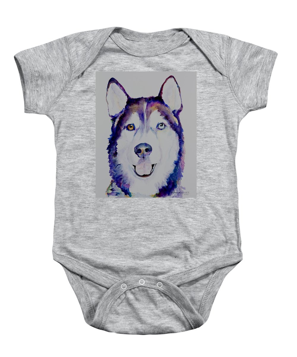 Siberian Husky Baby Onesie featuring the painting Simba by Pat Saunders-White