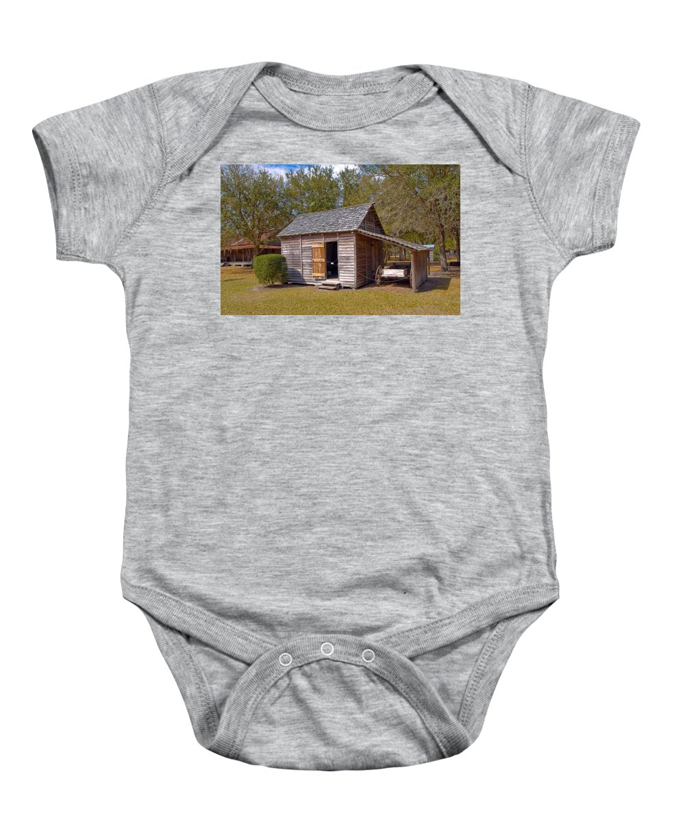 Cabin Baby Onesie featuring the photograph Simmons Cabin Built In 1873 In Orange County Florida by Allan Hughes