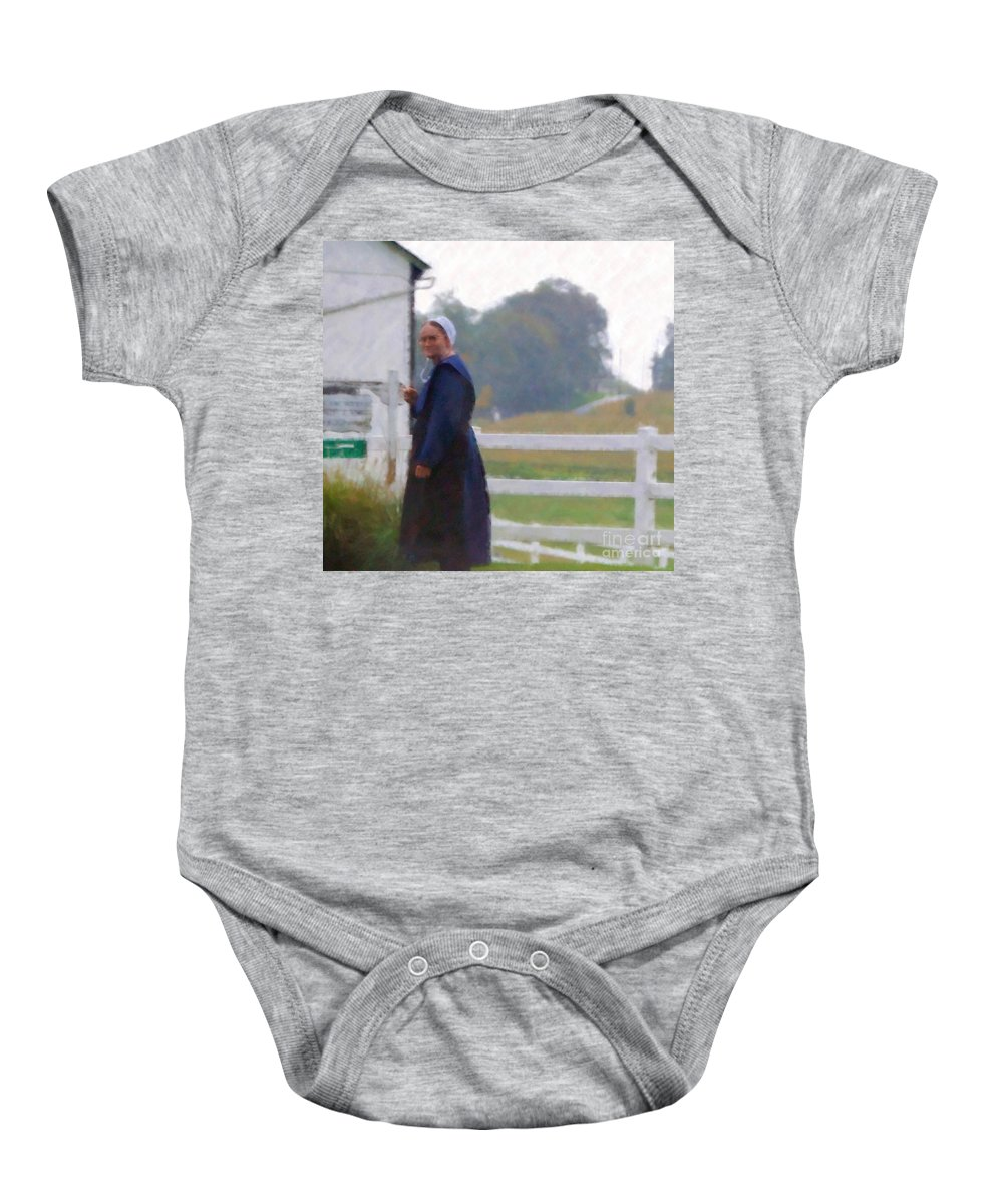 Amish Baby Onesie featuring the photograph Simple Living by Debbi Granruth