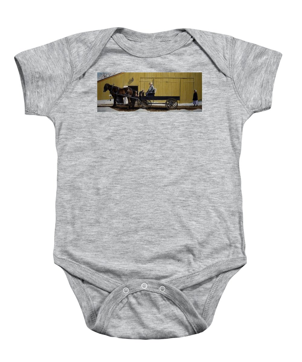 Landscape Baby Onesie featuring the painting Simple Pleasures by Denny Bond