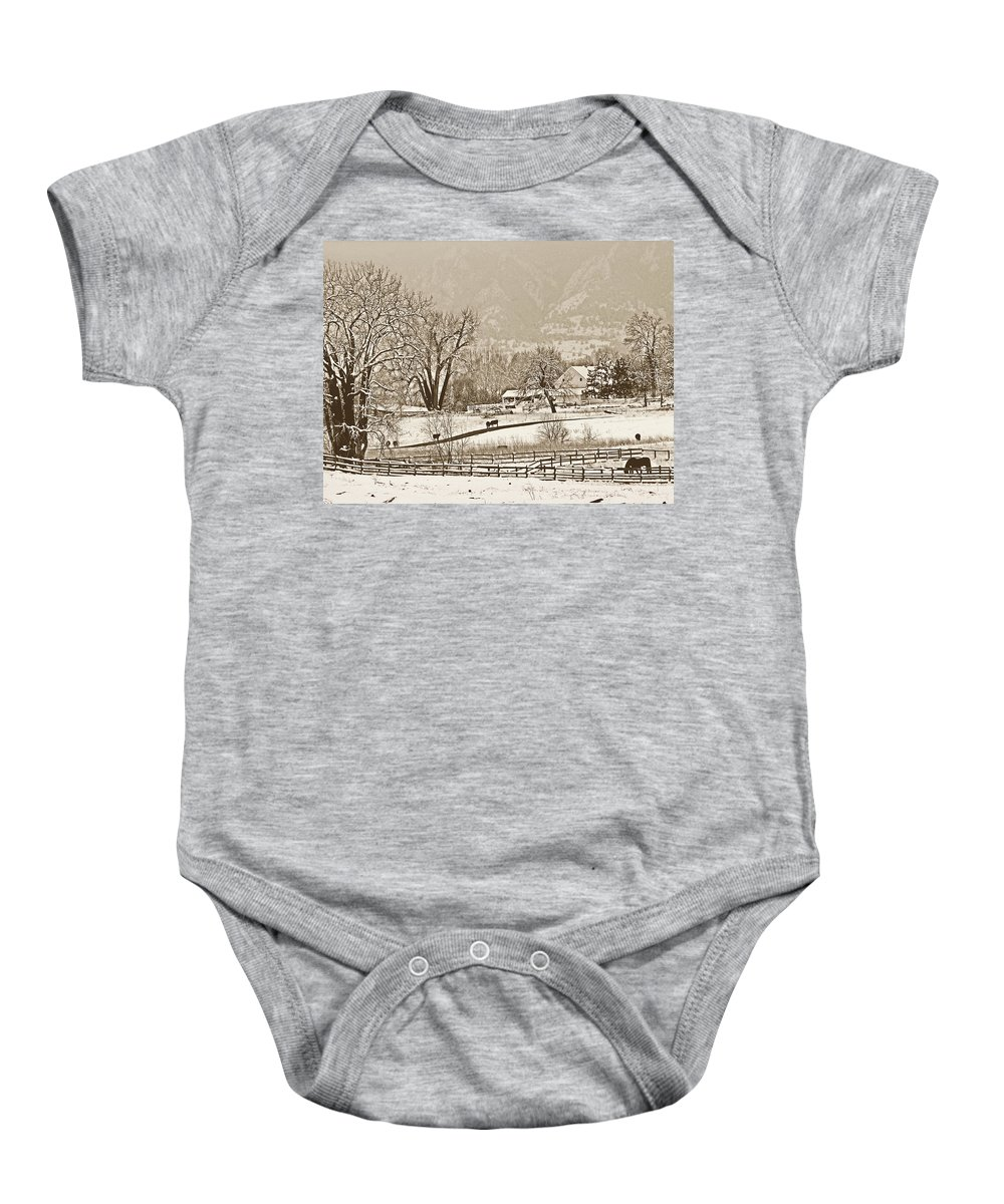Landscape Baby Onesie featuring the photograph Simpler Times by Marilyn Hunt