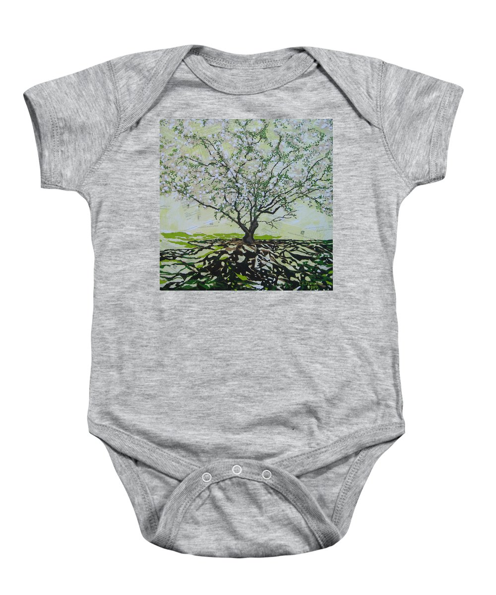 Apple Tree Baby Onesie featuring the painting Sincerely-the Curator by Leah Tomaino