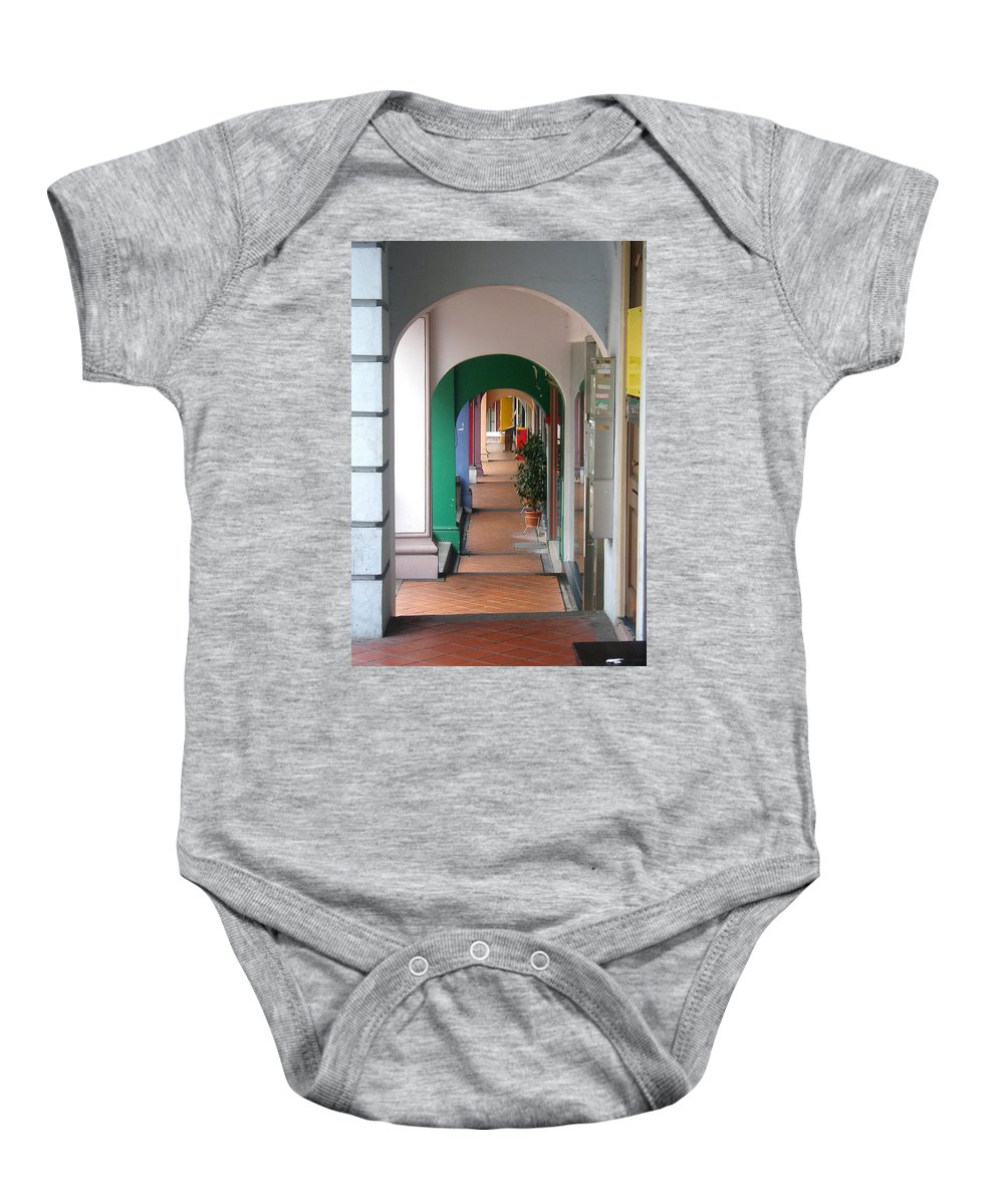 Architecture Baby Onesie featuring the photograph Singapore Porticoes by Mark Sellers