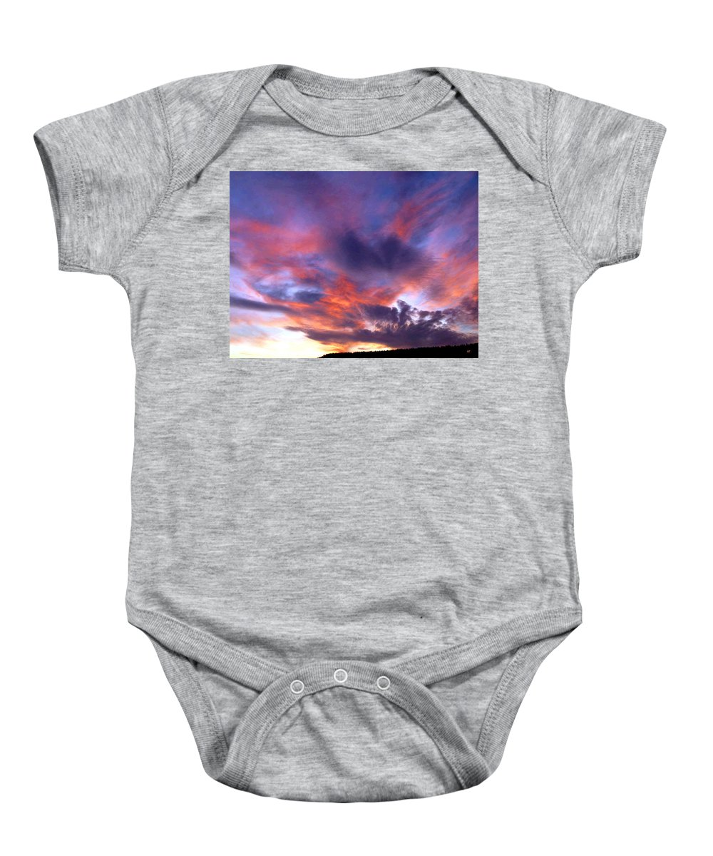 Sunset Baby Onesie featuring the photograph Singular Sunset by Will Borden