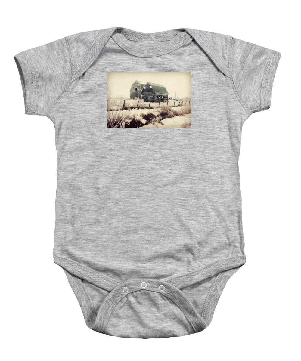 Barn Baby Onesie featuring the photograph Sister Barns by Julie Hamilton
