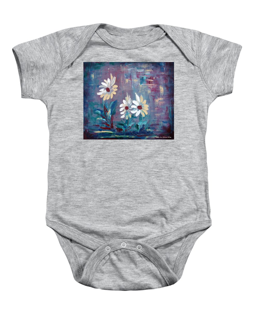 Daisies Baby Onesie featuring the painting Sisters by Gina De Gorna