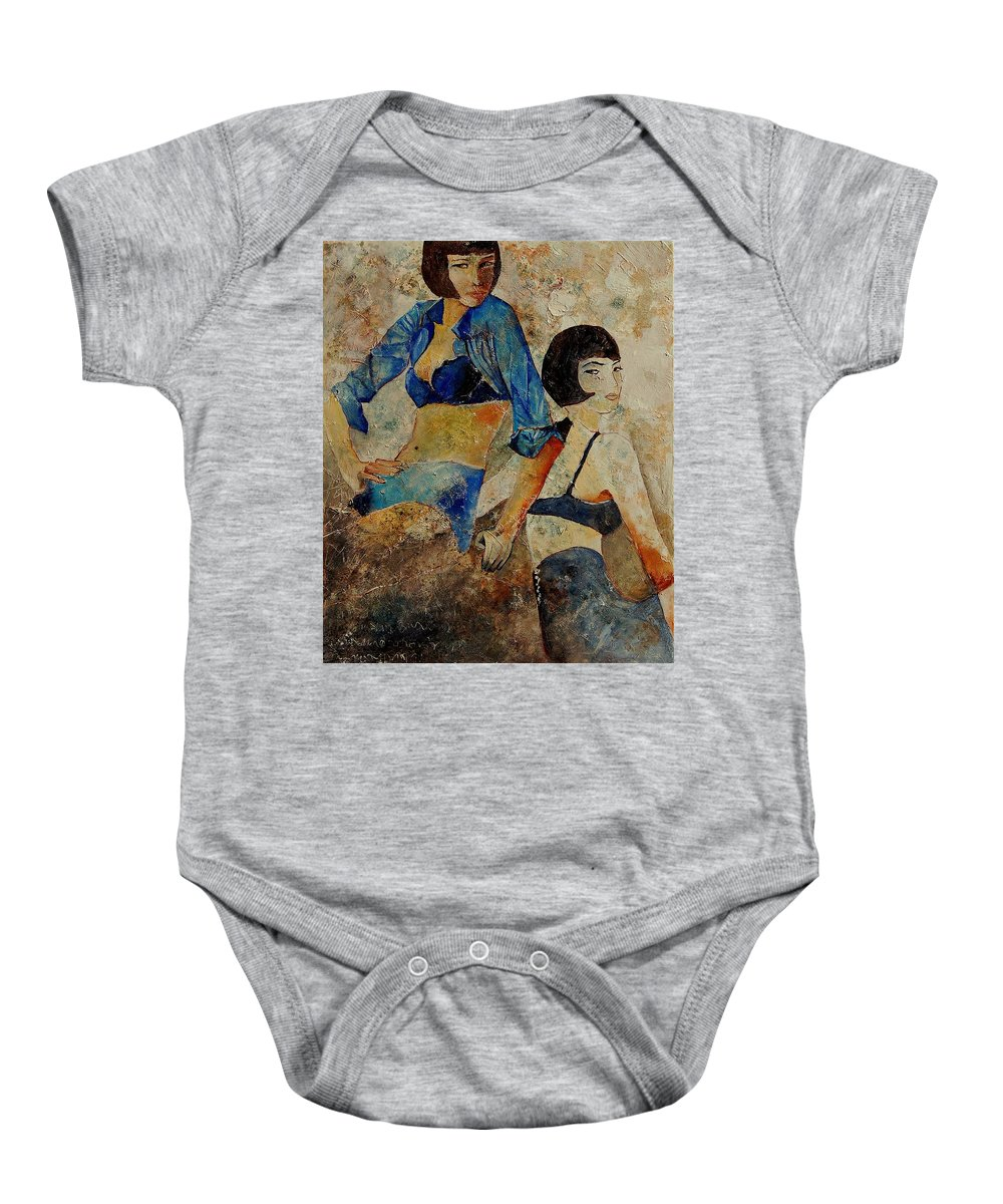 Girl Baby Onesie featuring the painting Sisters by Pol Ledent