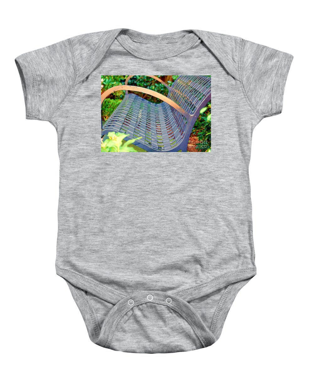 Bench Baby Onesie featuring the photograph Sitting On A Park Bench by Debbi Granruth