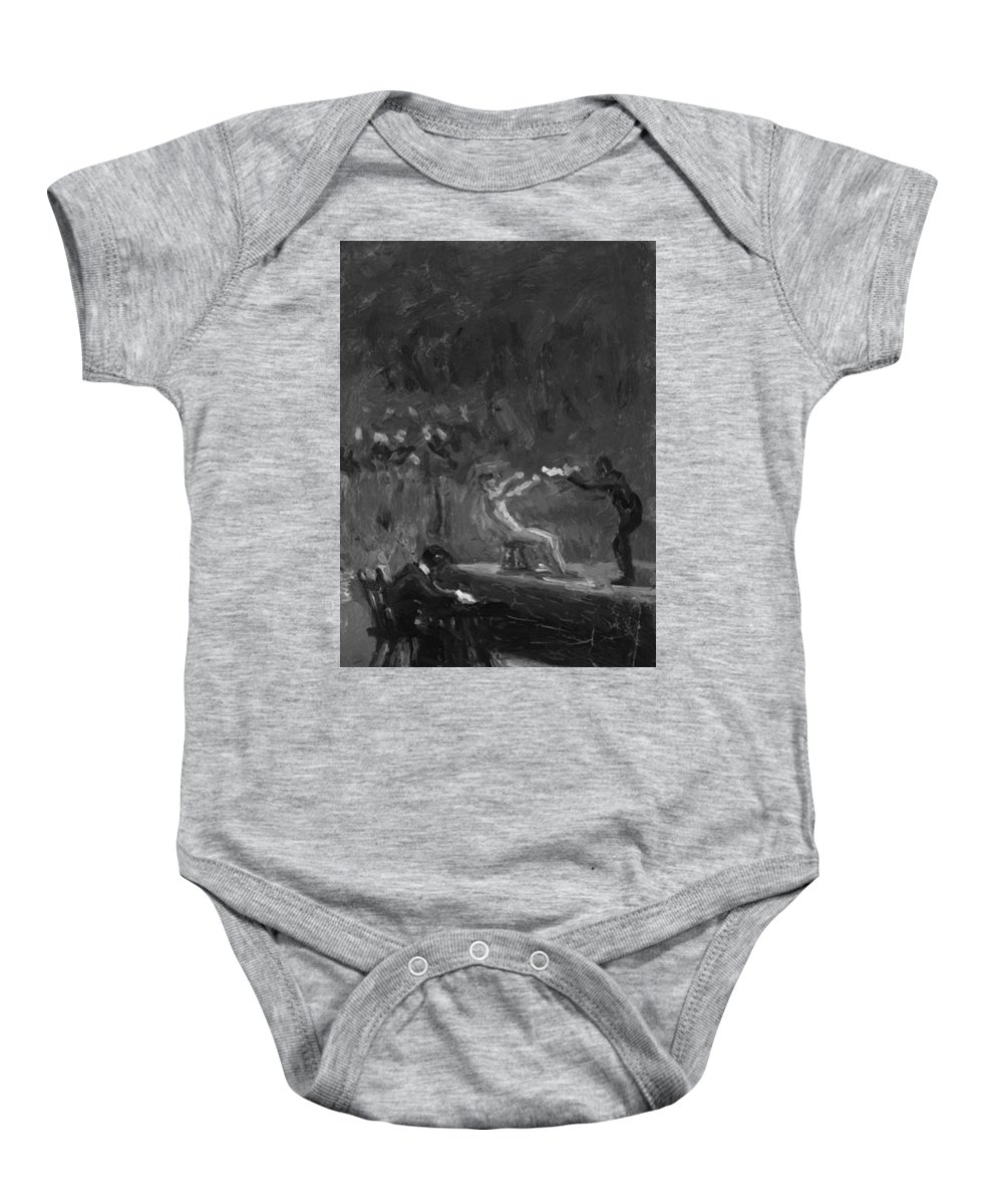 Sketch Baby Onesie featuring the painting Sketch For Between Rounds by Eakins Thomas