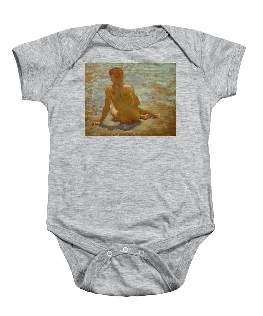 Sketch Of Nude Youth (study For Morning Splendour) Baby Onesie featuring the painting Sketch Of Nude Youth Study For Morning Spelendour by Henry Scott Tuke
