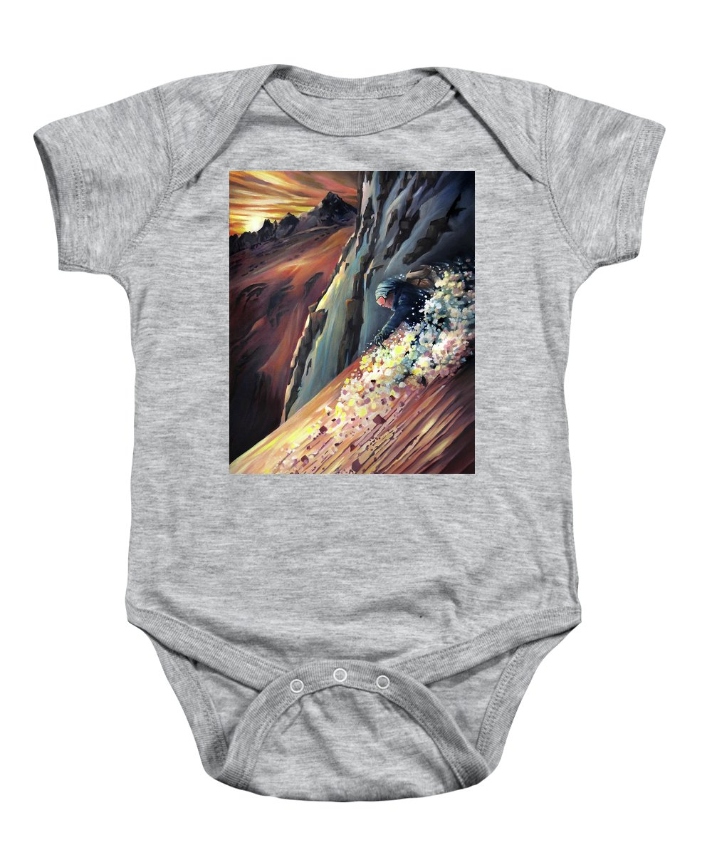 Steeps Baby Onesie featuring the painting Skier On The Steeps by Nancy Griswold