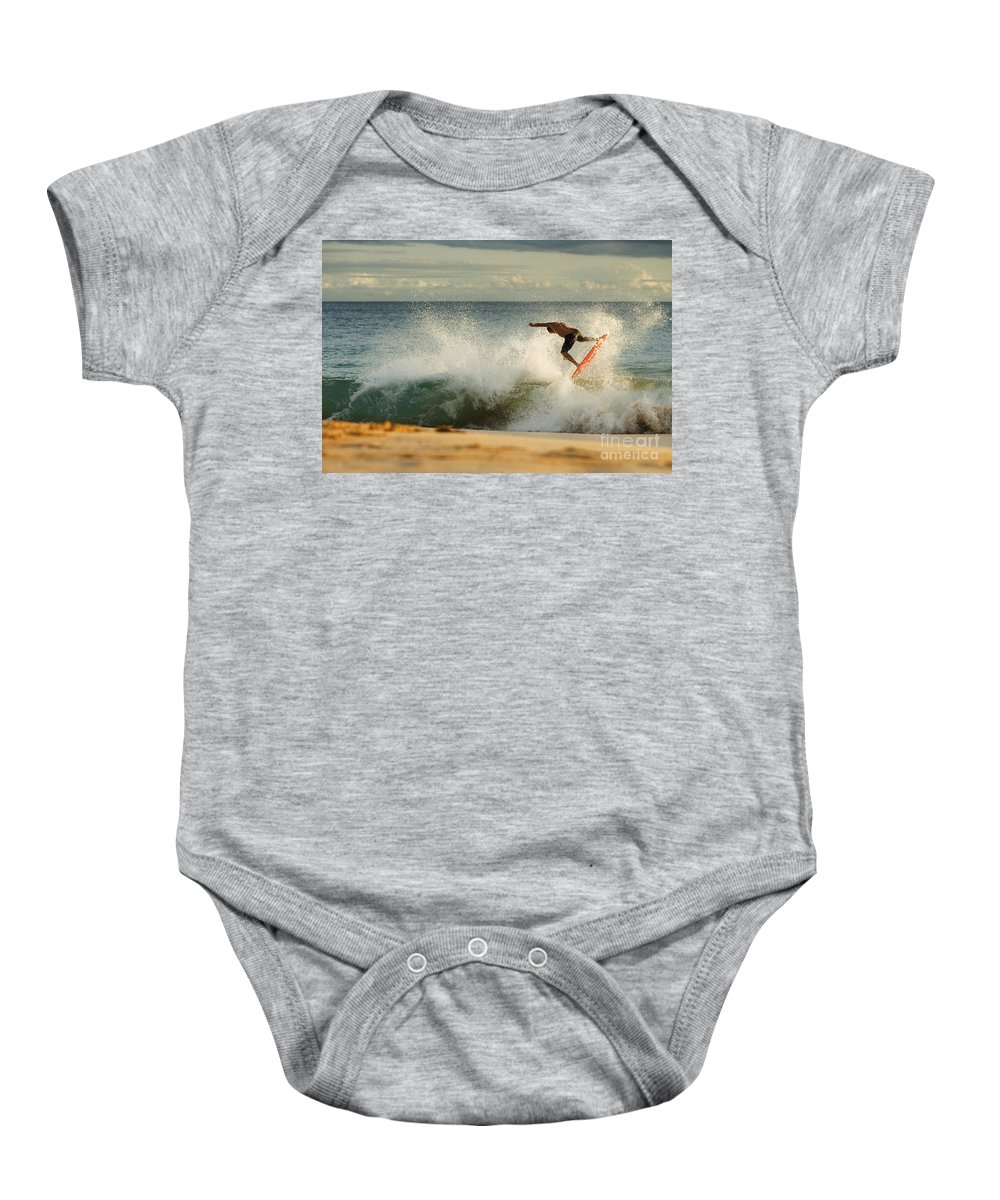 Action Baby Onesie featuring the photograph Skimboarding - Makena by MakenaStockMedia - Printscapes