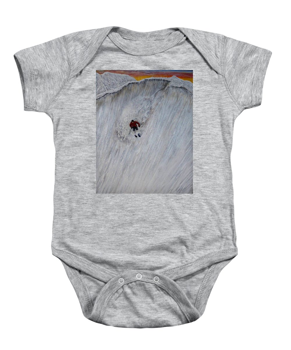 Landscape Baby Onesie featuring the painting Skitilthend by Michael Cuozzo