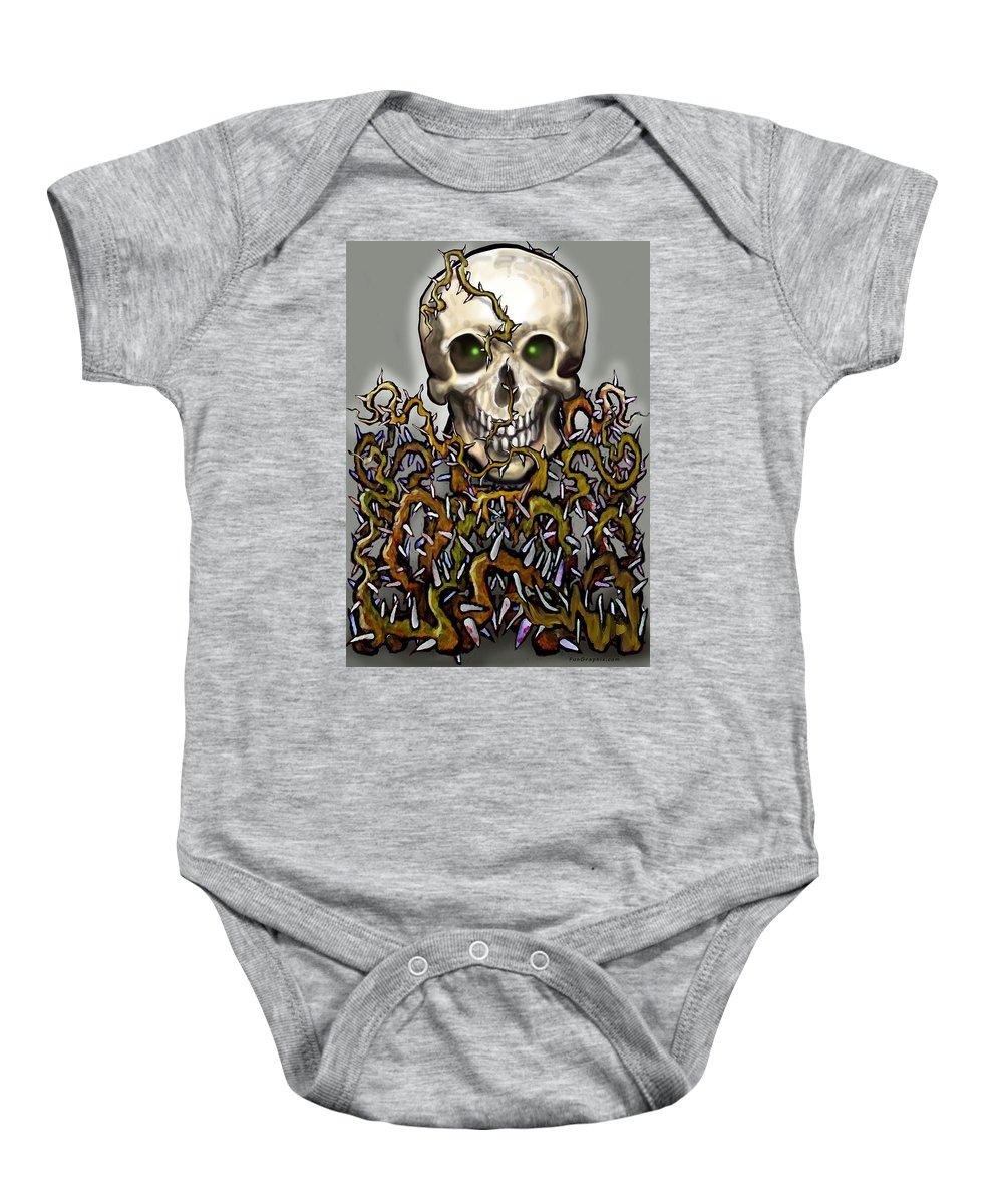 Skull Baby Onesie featuring the painting Skull N Thorns by Kevin Middleton