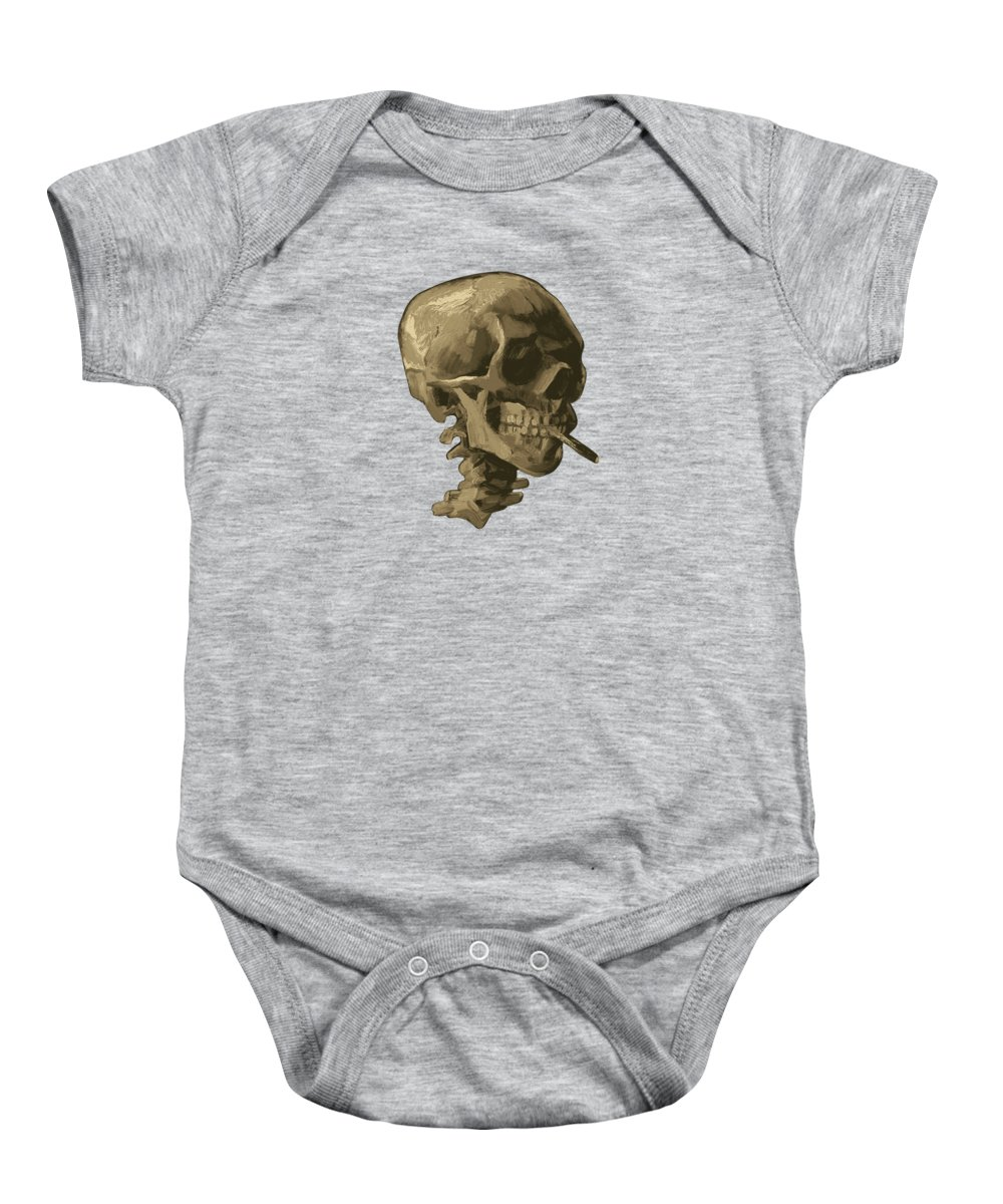 96c92efb Van Gogh Baby Onesie featuring the painting Skull Of A Skeleton With Burning  Cigarette - Vincent