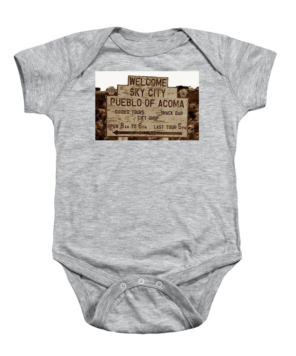 Fine Art Photography Baby Onesie featuring the photograph Sky City Sign by David Lee Thompson