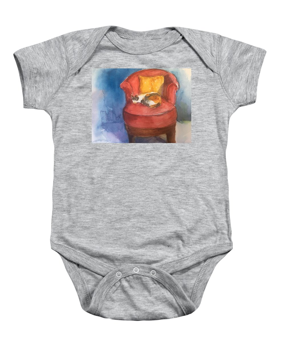 Watercolor Baby Onesie featuring the mixed media Sleeping Calico by Iva Fendrick
