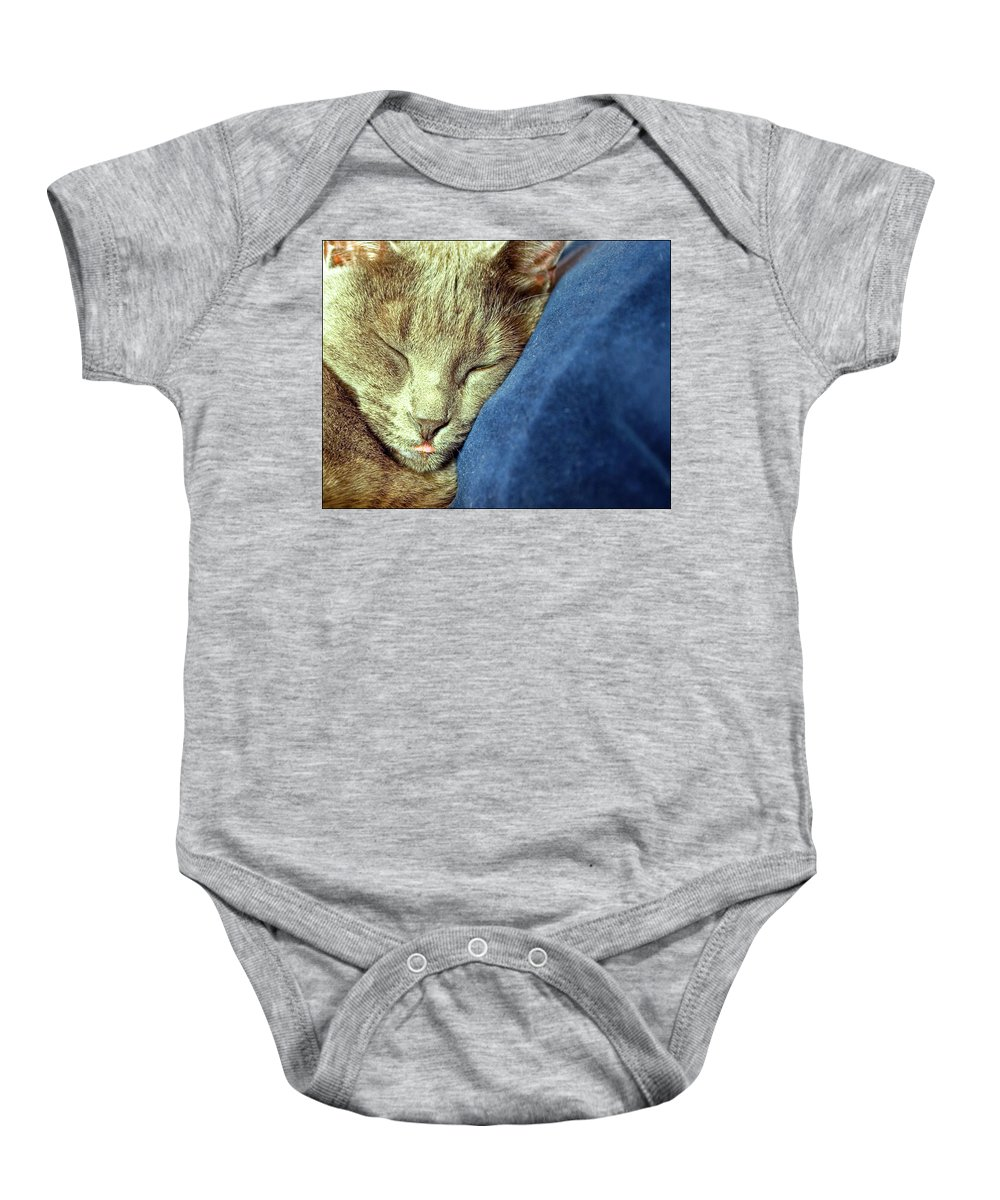 Cats Baby Onesie featuring the photograph Sleeping Cat by Jarmo Honkanen