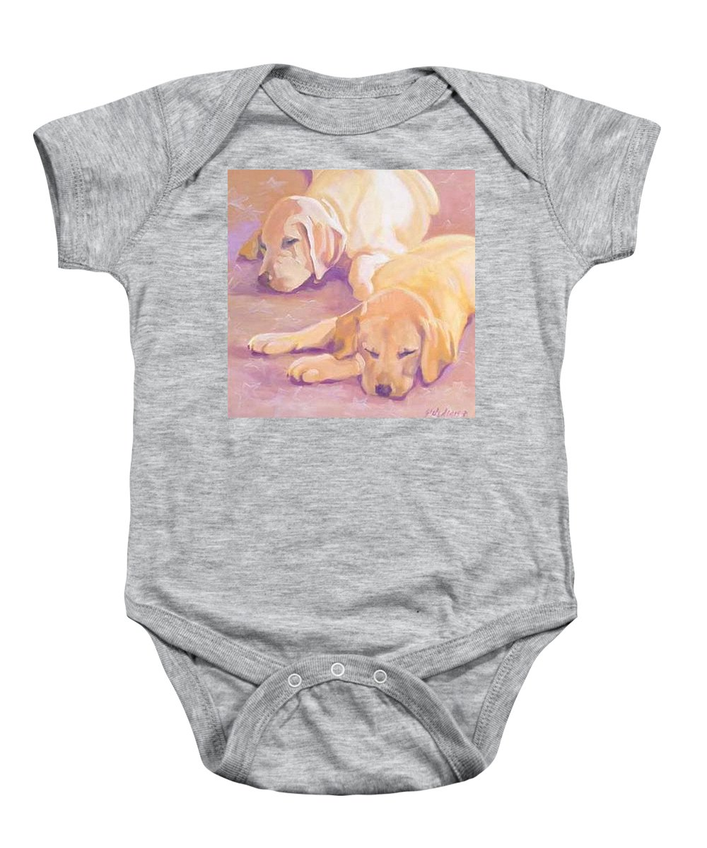 Yellow Labs Baby Onesie featuring the painting Sleepy Babies by Sheila Wedegis