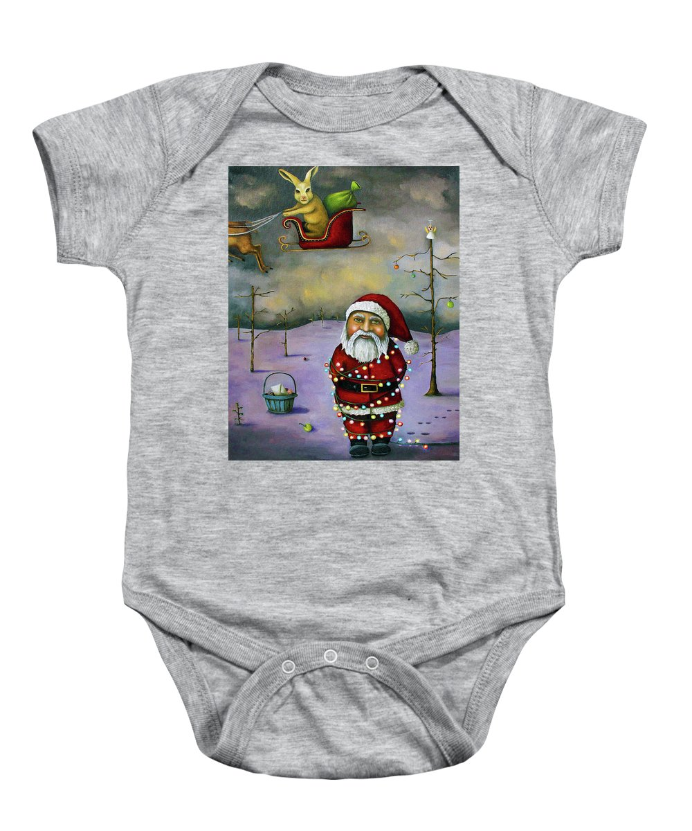 Santa Baby Onesie featuring the painting Sleigh Jacker by Leah Saulnier The Painting Maniac
