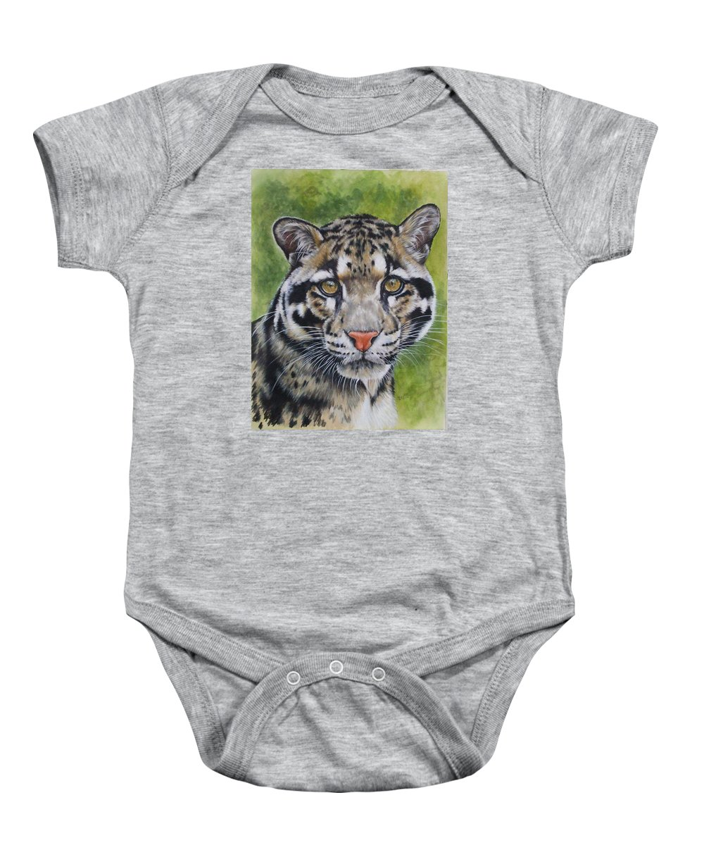Clouded Leopard Baby Onesie featuring the mixed media Small But Powerful by Barbara Keith
