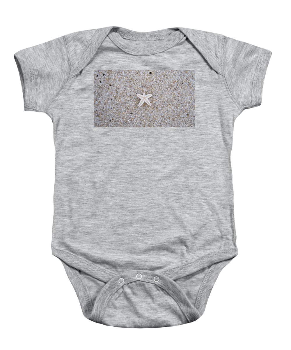 Sylt Baby Onesie featuring the photograph Small Star Fish by Heidi Sieber